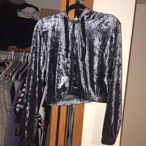 Gray crushed velvet jacket